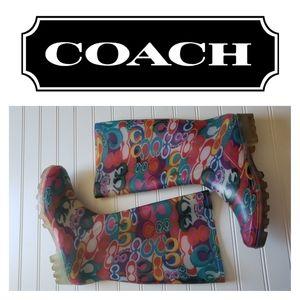 COACH Monogram Rubber Boots